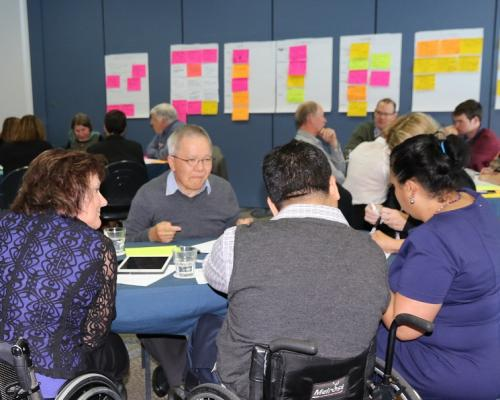 Participants at a transformation workshop discuss the challenges ahead.